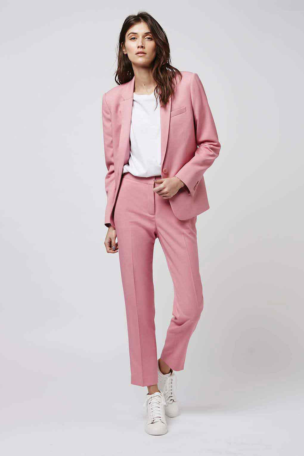 Latest pink and white business suit for ladies