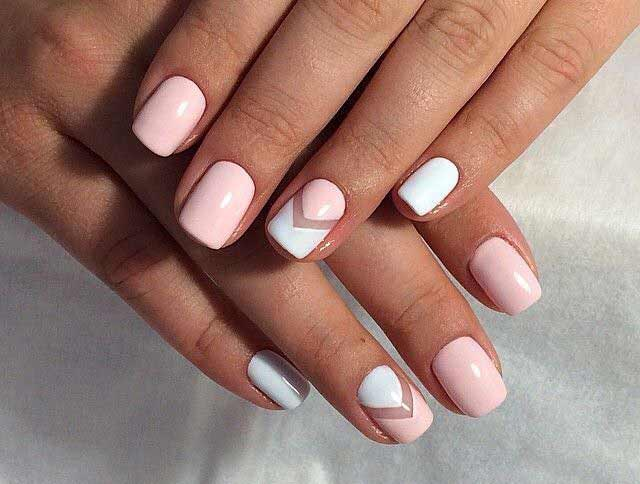Pink and white beauty bush nail art for Eid