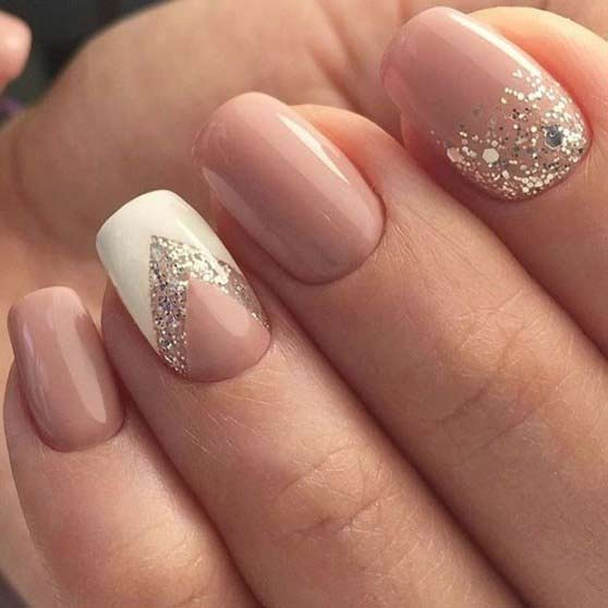 Easy pink nude nail art designs for Eid