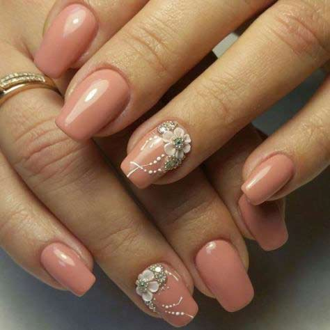 Easy pink floral nail art designs for Eid