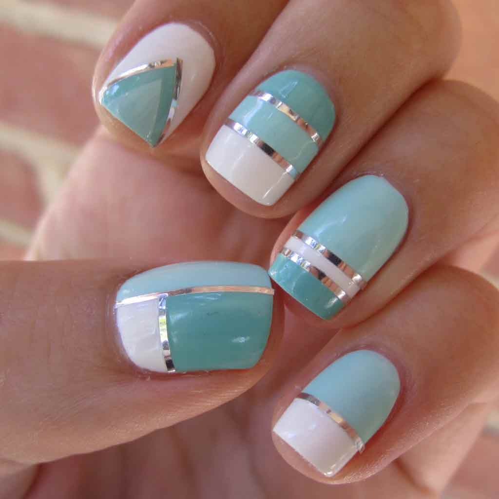 Easy sky blue and white nail art designs for Eid