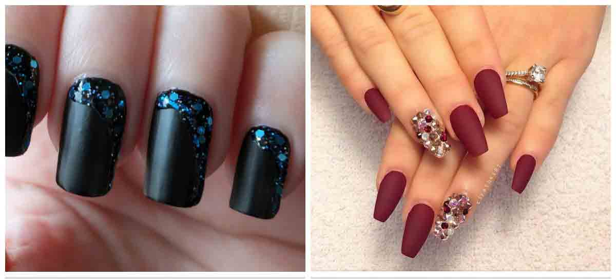 Black and maroon easy nail art designs for Eid