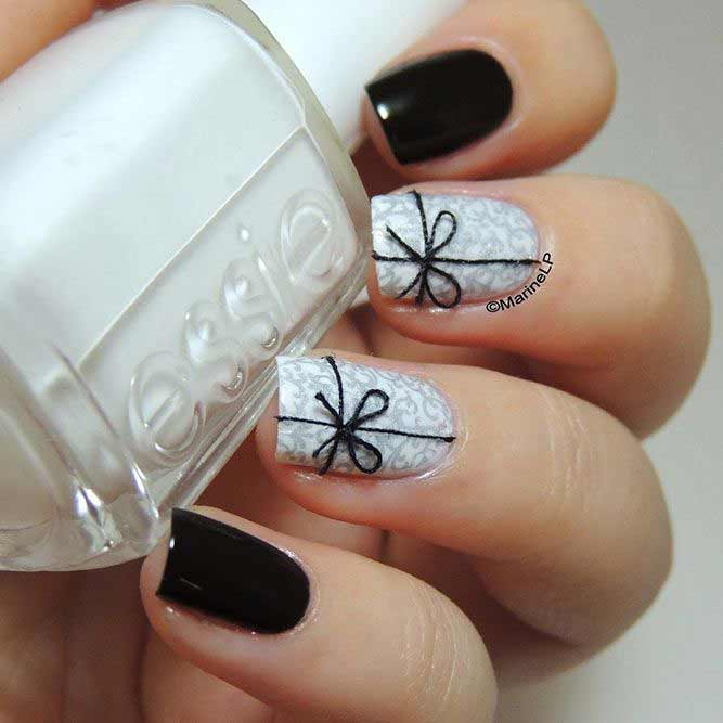 Easy black and white bow nail art designs for Eid