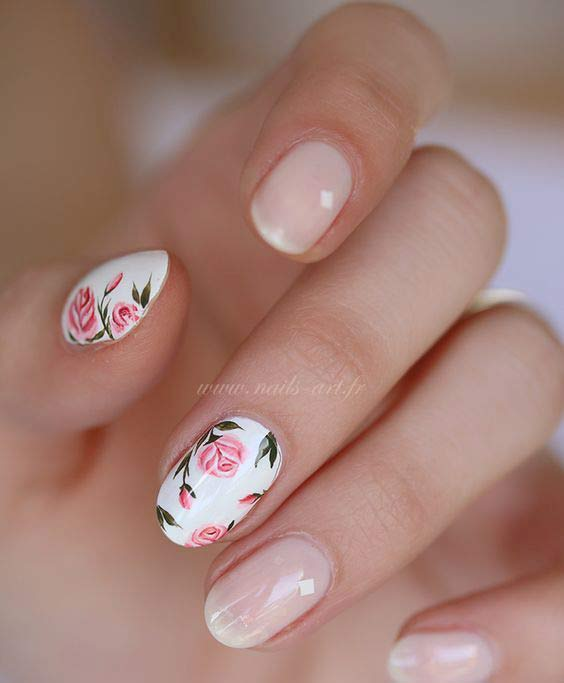 Floral nail art for Eid