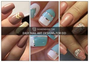 Sky blue and floral peach easy nail art designs for Eid