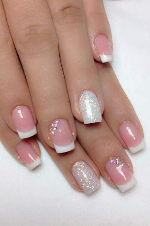 Easy silver glitter nail art designs for Eid