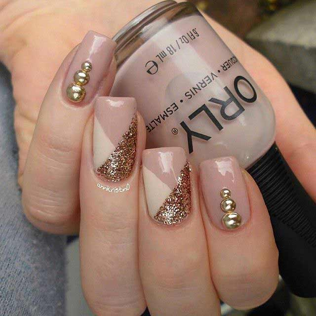 Latest nude nail paint with glitter