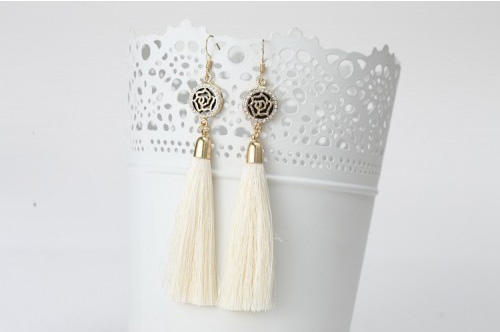 Latest white tassel earrings for Eid