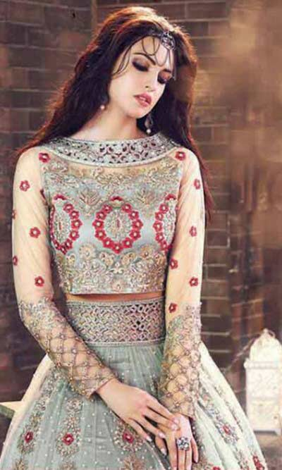 Pakistani grey lehenga choli for pear body
