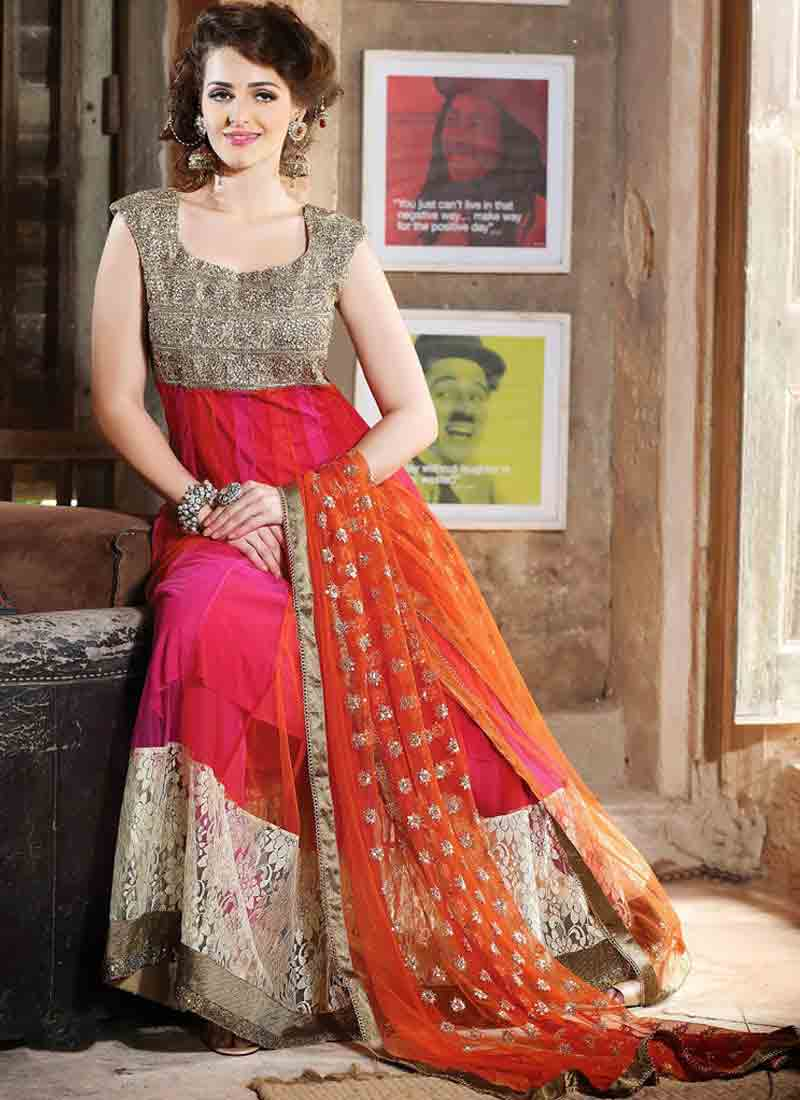 Latest orange and pink kalidar frock style for pear body