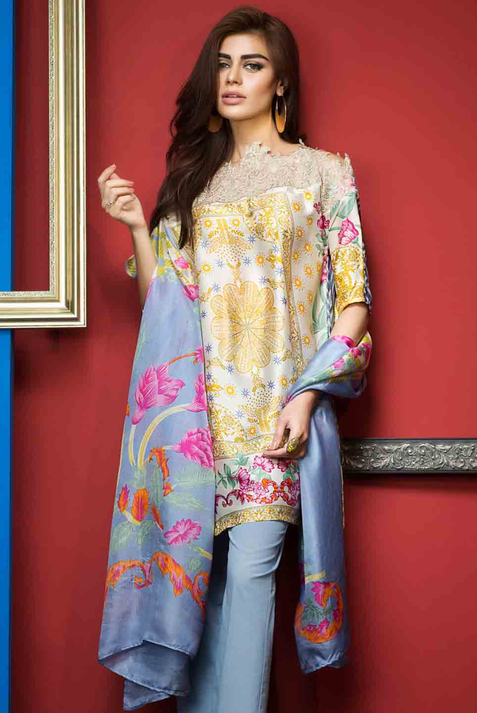 Pakistani yellow and blue kameez with dupatta for pear body shape