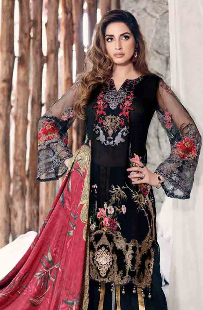 Pakistani black kameez and red dupatta for pear body