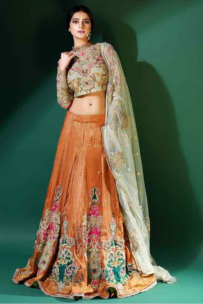 Latest orange lehenga choli for pear body