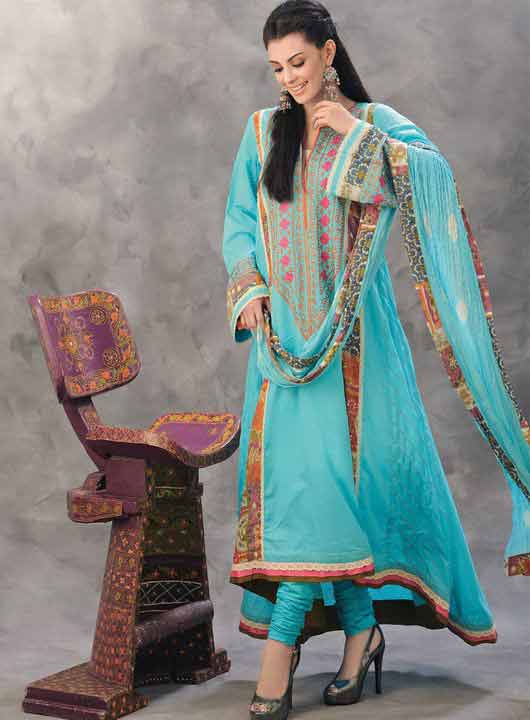 Pakistani sky blue A-line frock style for pear body