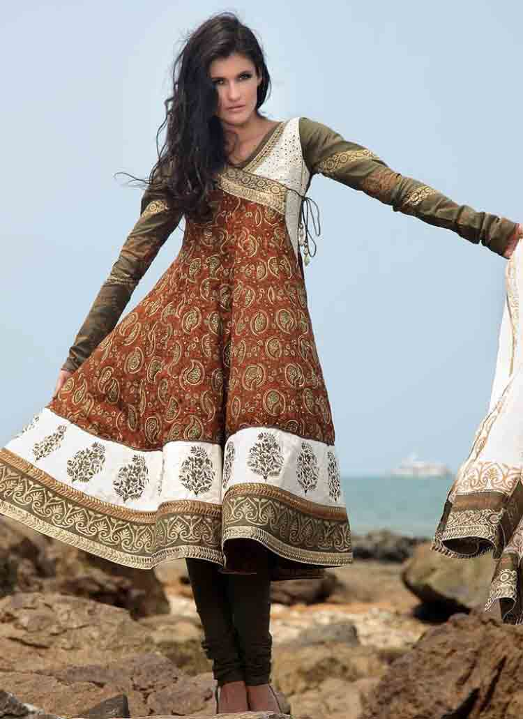 Pakistani brown angarkha style frock for pear body type