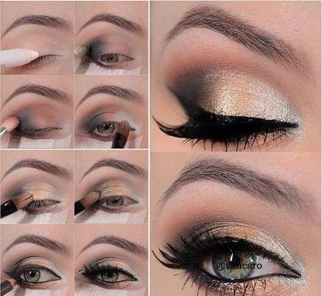 Soft gold smokey eyes makeup tutorial for Eid