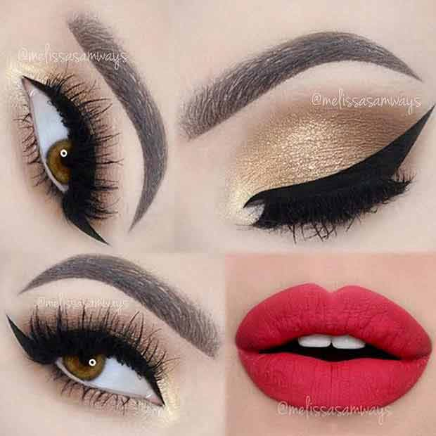 Step by step golden smokey eyes makeup