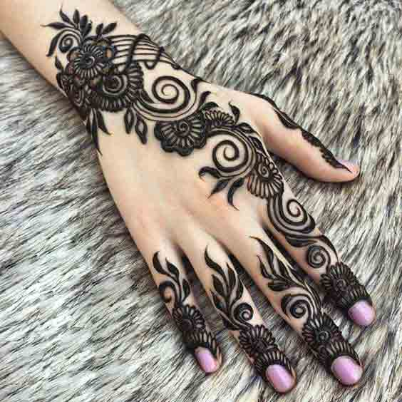 Latest thick Arabic mehndi designs for Eid