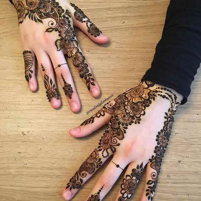 Beautiful back hand mehndi design for Eid