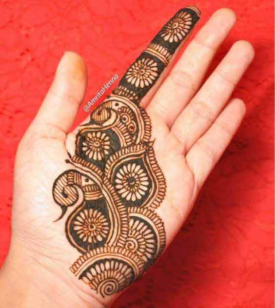 Easy and simple Eid mehndi design for front hand