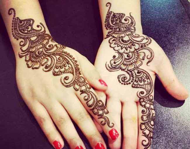 Vine mehndi design for front and back hand
