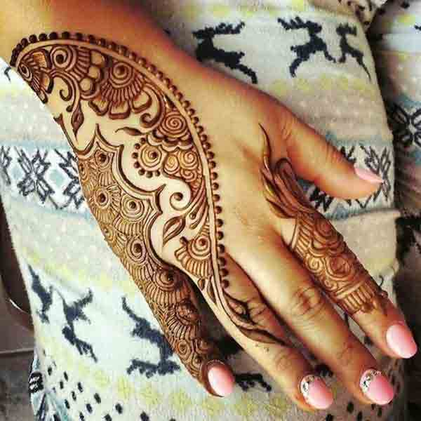 Easy Eid mehndi designs for back hand