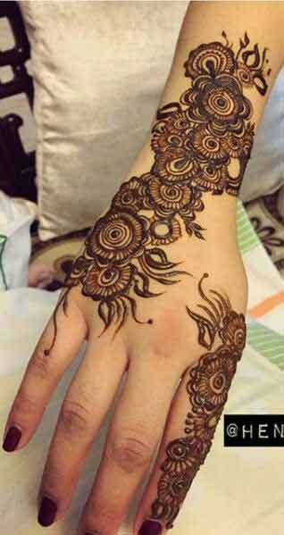 Easy flower mehndi designs for girls