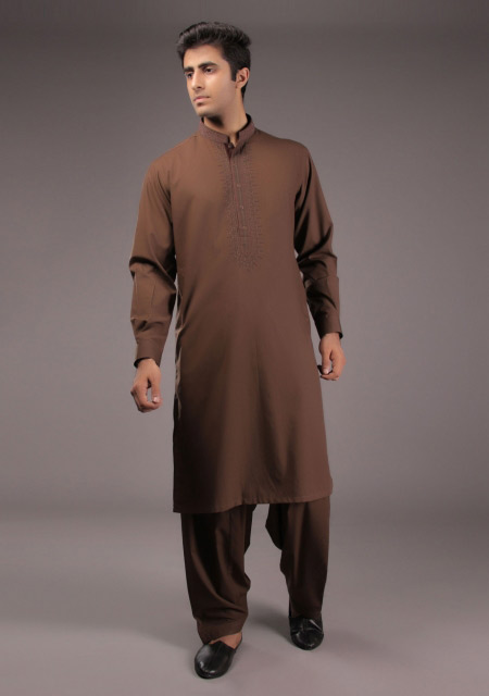 Latest gents brown kurta style for Eid