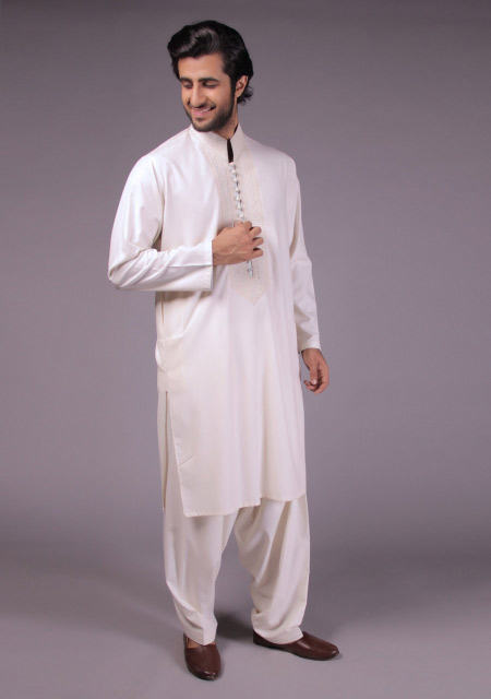Latest gents white kurta designs for Eid