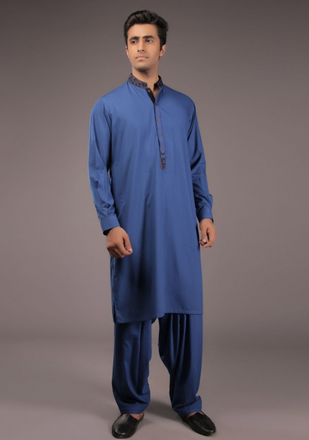 Latest blue kurta designs for Eid