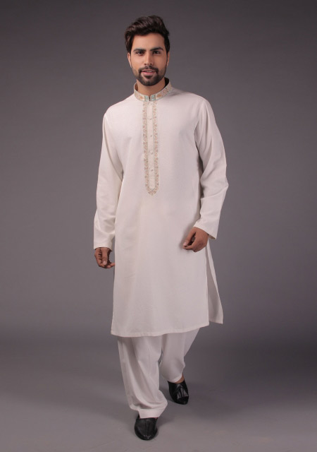 White embroidered kurta designs for eid