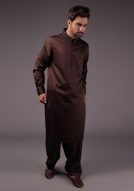 Dark brown gents kurta designs for Eid namaz
