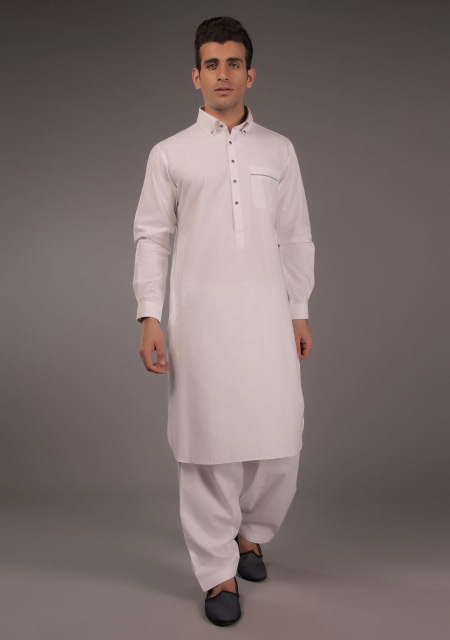 Pakistani white kurta designs for Eid namaz