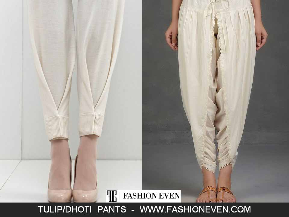 Simple white tulip shalwar designs