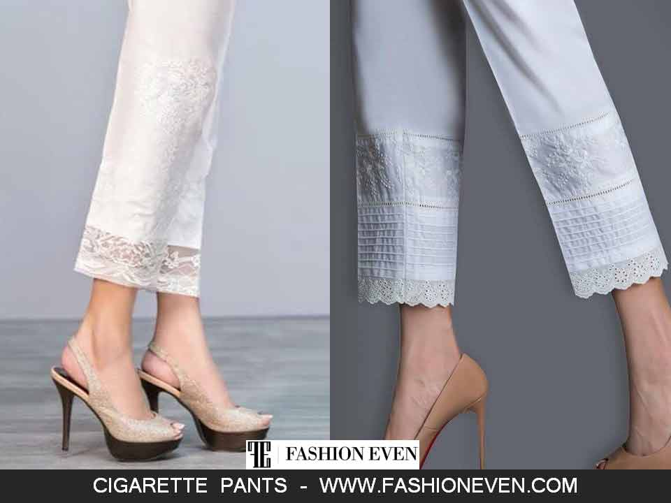 Cigarette pants with lace designs in Pakistan