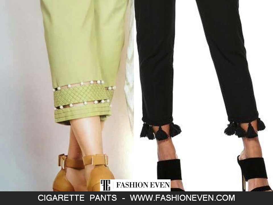Cigarette pants with pearls and tassels designs in Pakistan