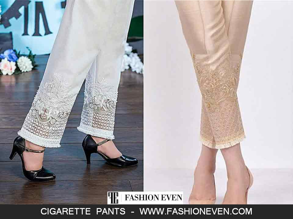 Embroidered cigarette trousers designs in Pakistan