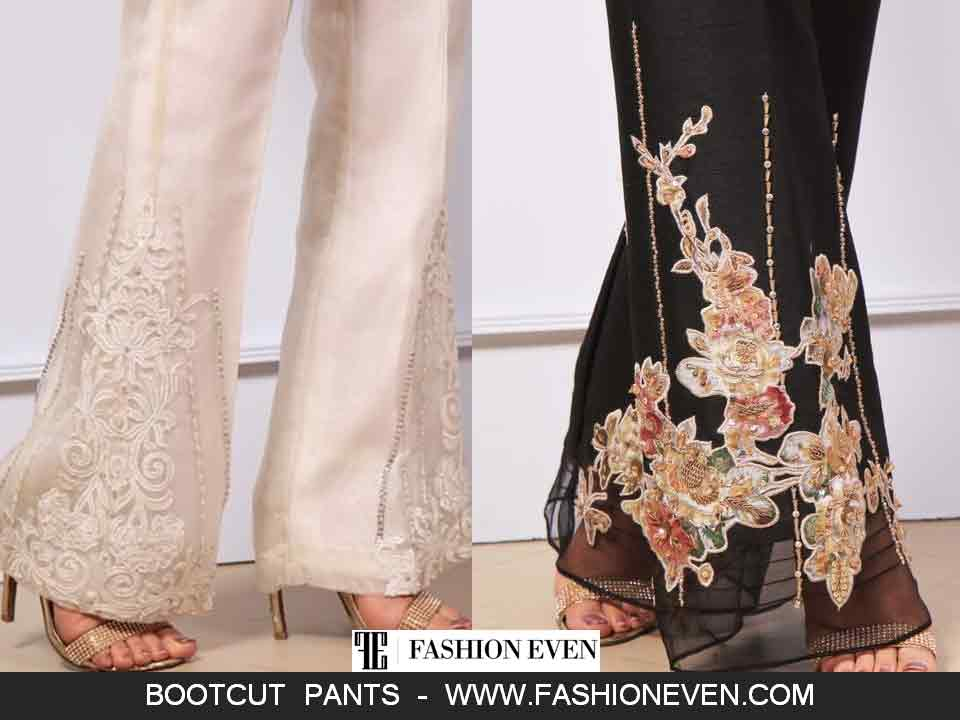 Embroidered bootcut trouser styles in Pakistan