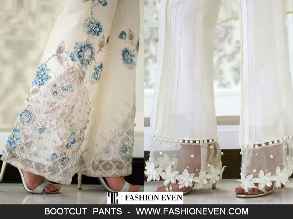 White bootcut trousers designs in Pakistan