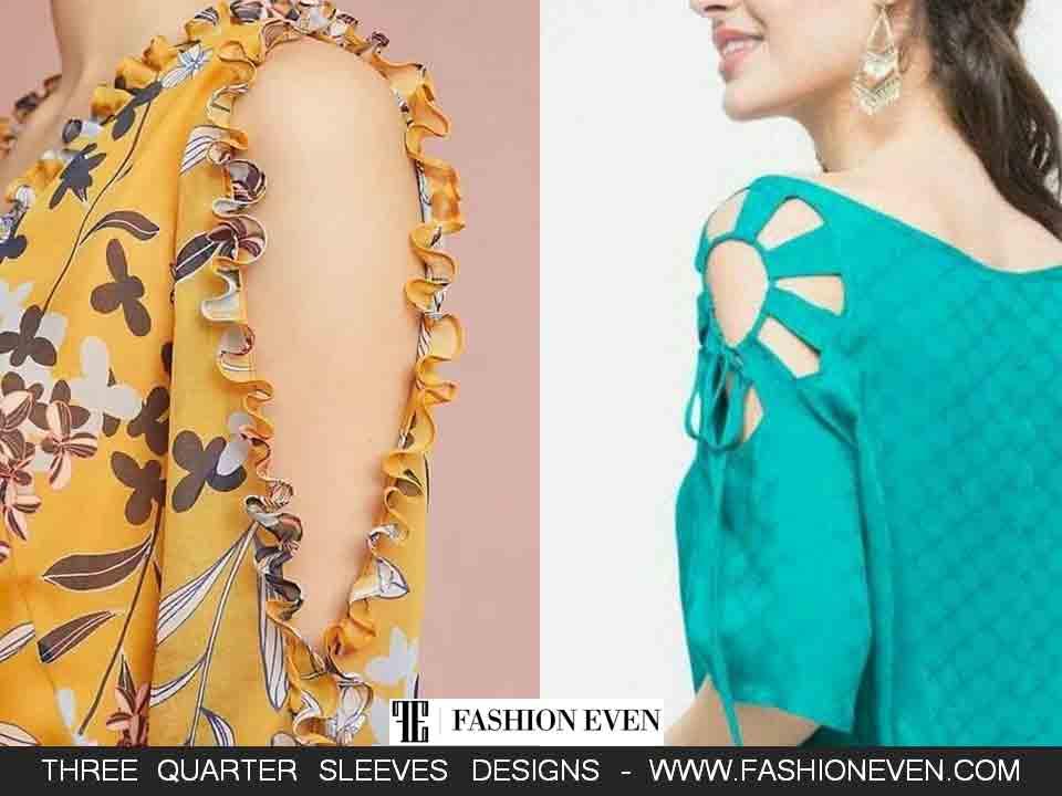Latest 3/4 peekaboo sleeves designs for kurti