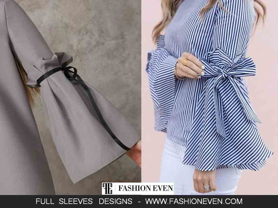 Bell sleeves with bowtie full sleeves designs in Pakistan