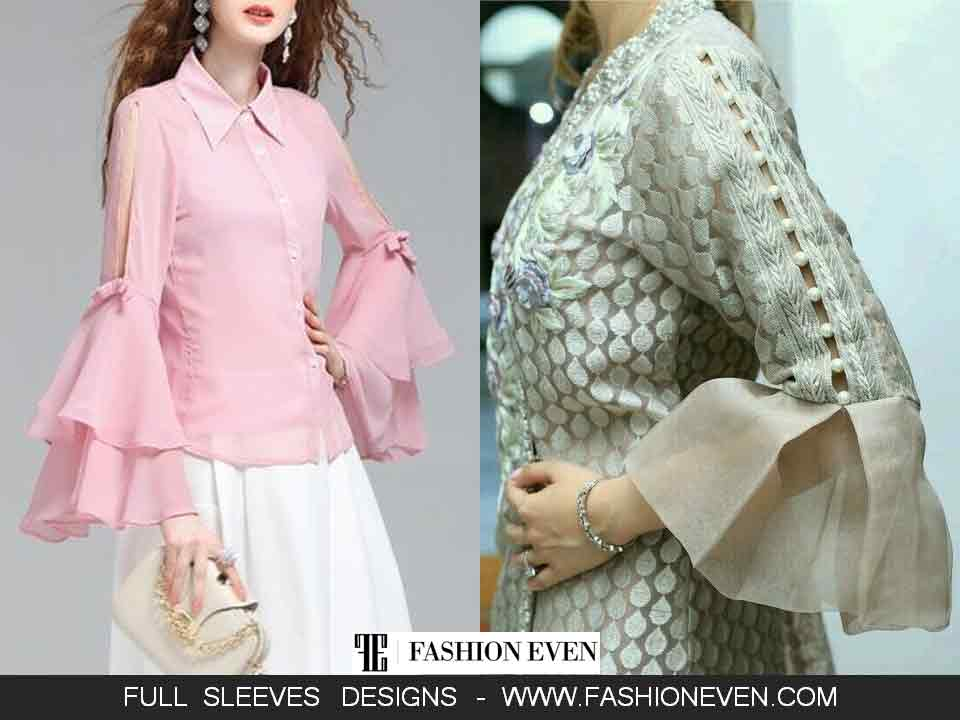 Bell sleeves designs for kurti