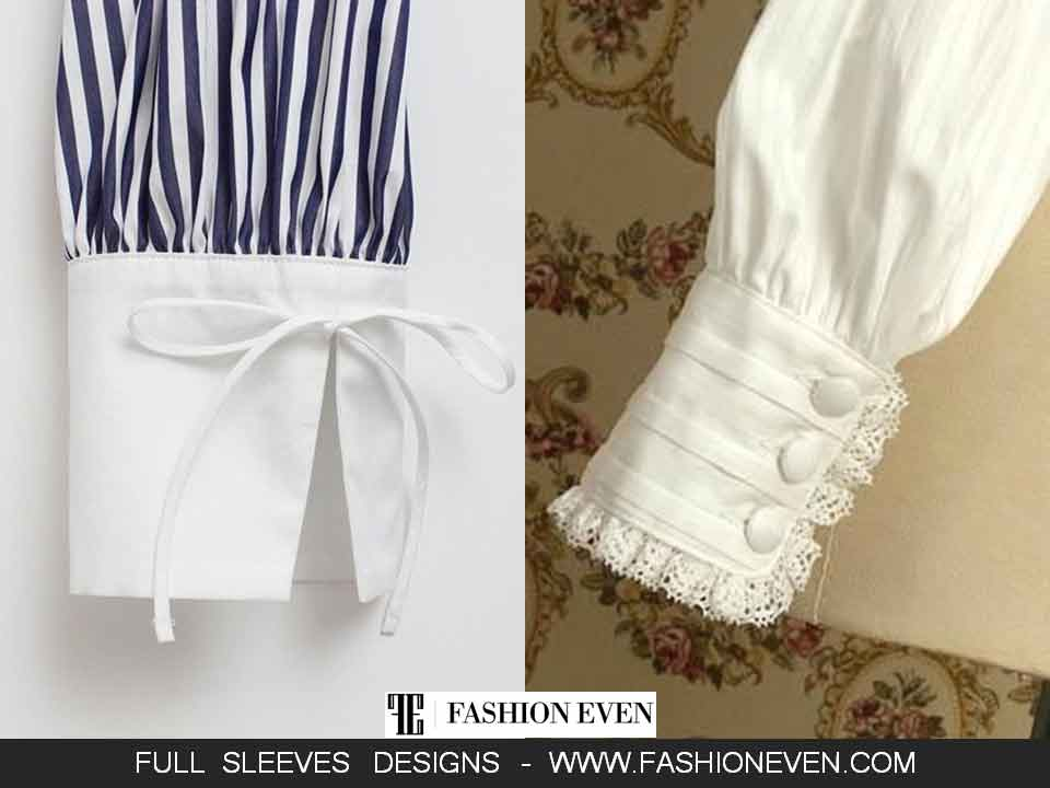 Cuff sleeves designs with bow and buttons