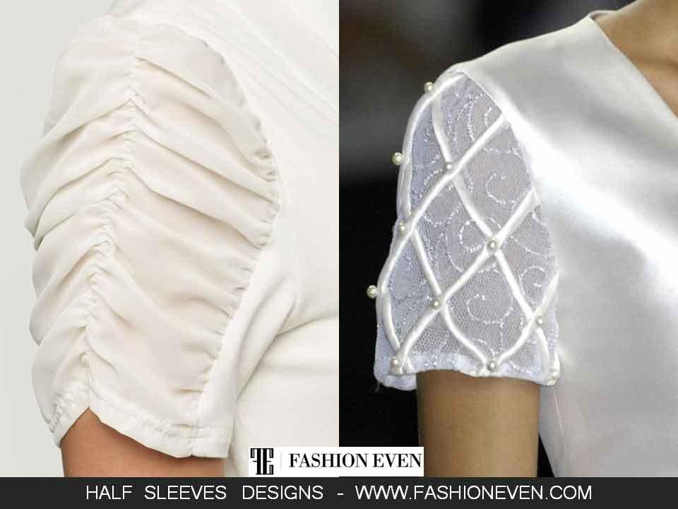 Pakistani white half sleeves design for kurti