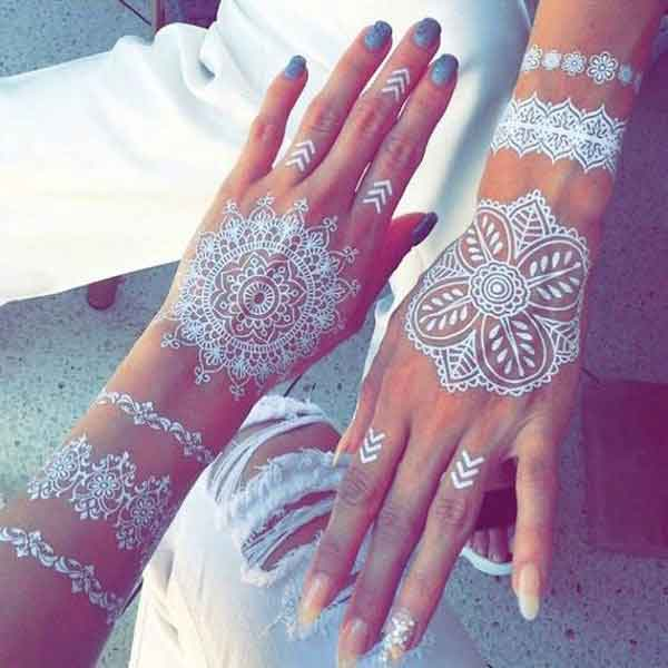 Round tikki white henna designs for hands