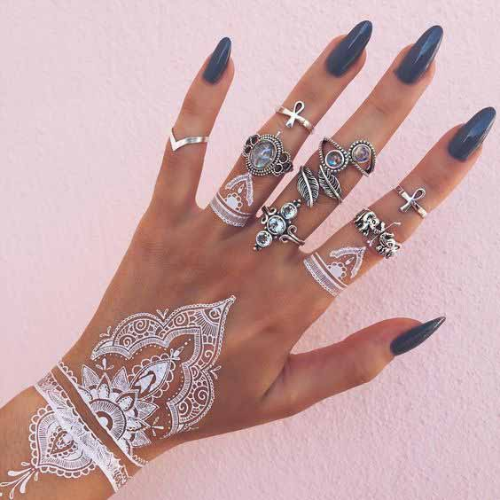 Simple white mehndi designs for hands