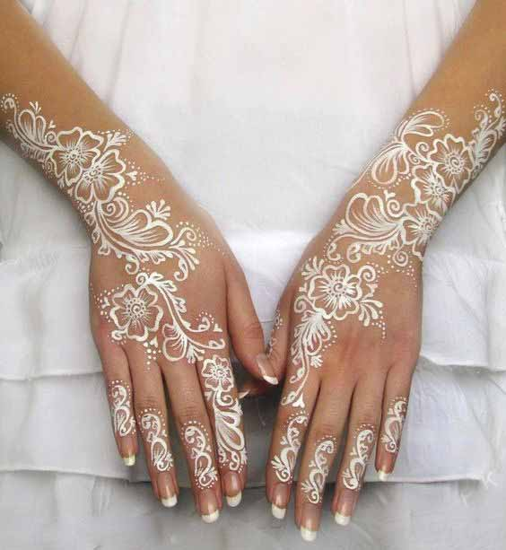 Beautiful white mehndi designs for both hands