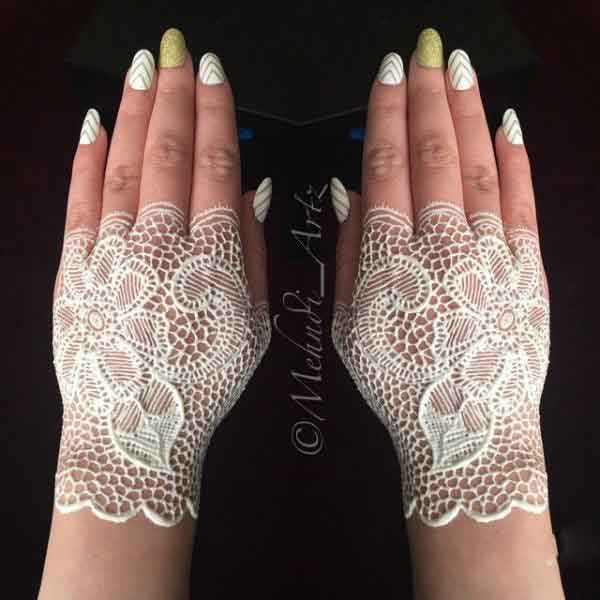 White lace glove henna designs