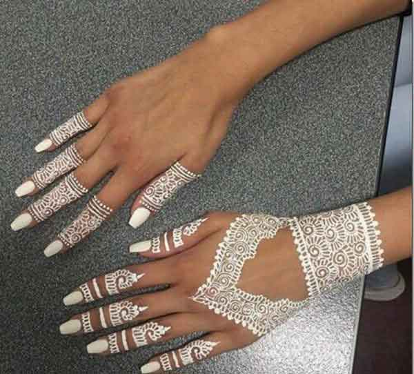 Easy white mehndi designs