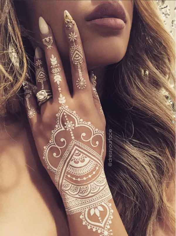 White henna for back hand
